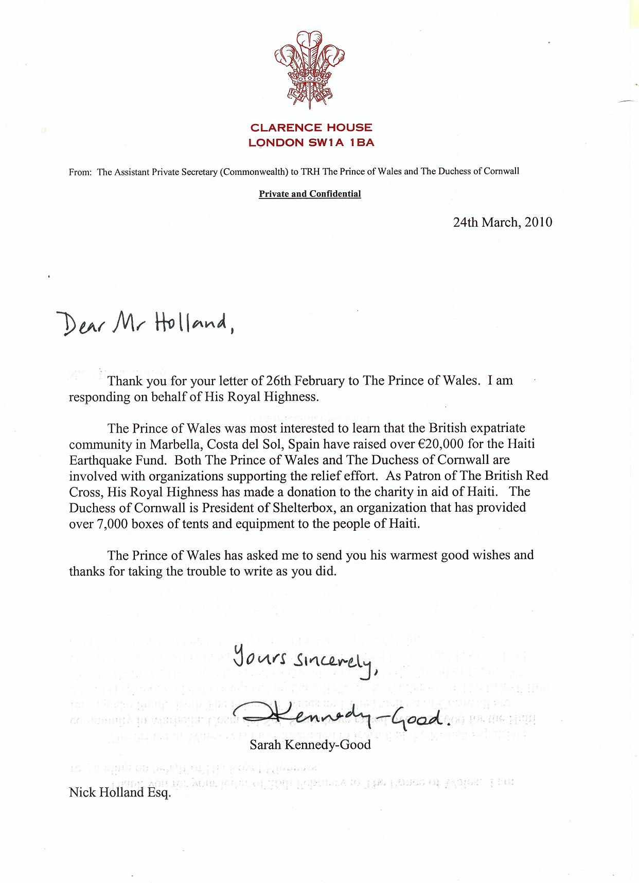 Letter from Clarence House on behalf of His Royal Highness The Prince of Wales.