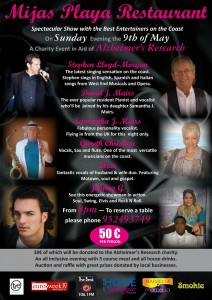 Mijas Playa Restaurant Alzheimer's Research Charity Show