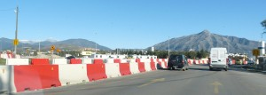 Barriers marking the tunnel excavation in San  Pedro, Marbella