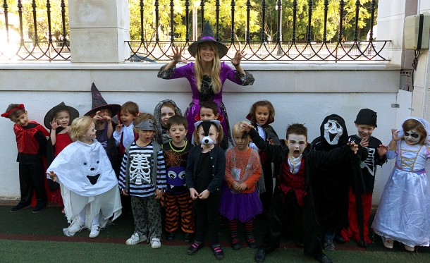 Miss Fry with her scary Reception Class