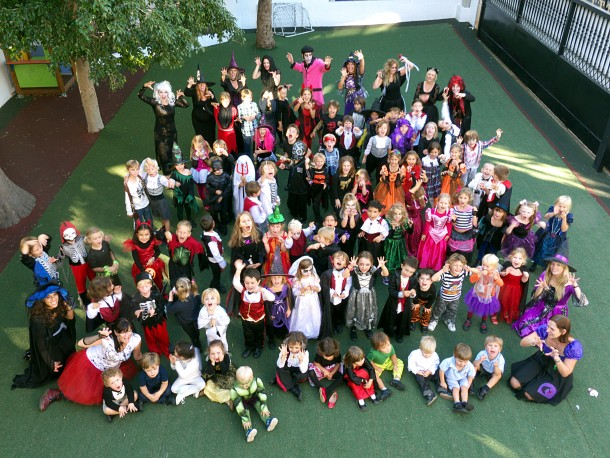 Teachers and children in fancy dress