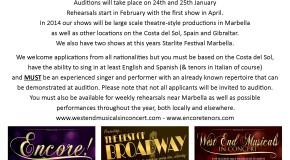 PROFFESIONAL SINGERS WANTED  - MARBELLA - COSTA DEL SOL