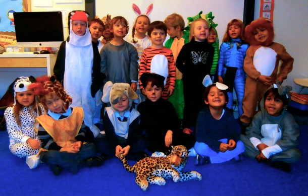 Reception Class dressed as a host of animals