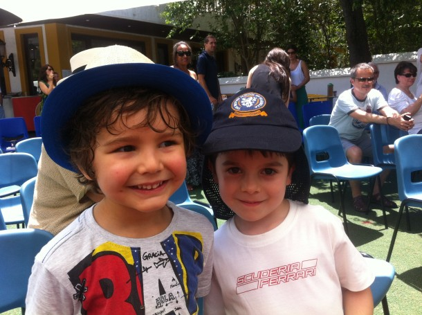Cheeky faces at the summer fair