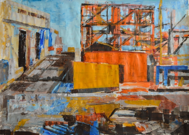 Angela Brisnovali - 1, yellow orange containers in front of scaffold