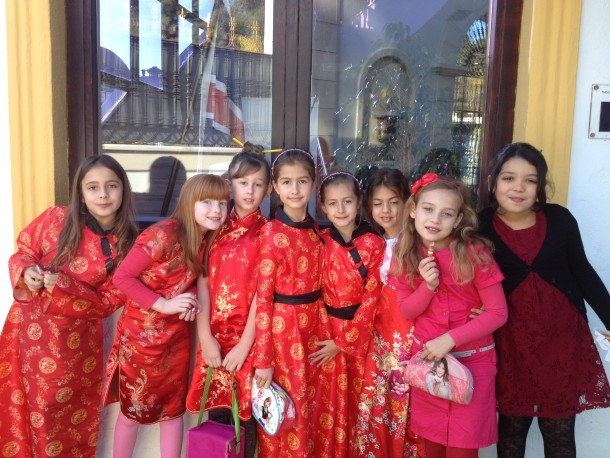 Pupils from BSM dressed in colourful Chinese clothes