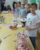 Children helped raise funds for Comic Relief at their cake sale.